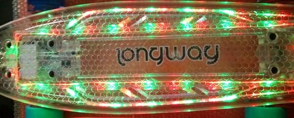 Mini Skateboard transparent grün mit LED Licht und Leuchtrollen