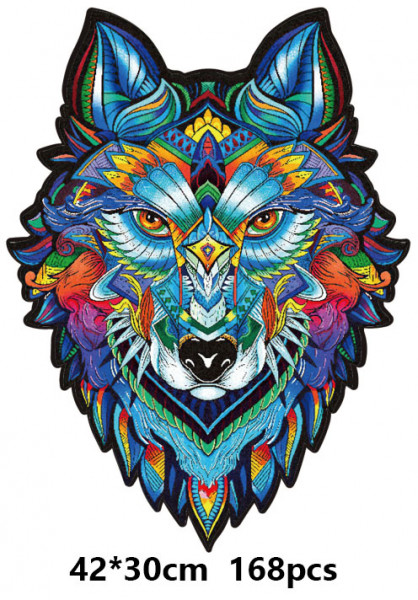 Holz Puzzle - Mosaik - Wolf