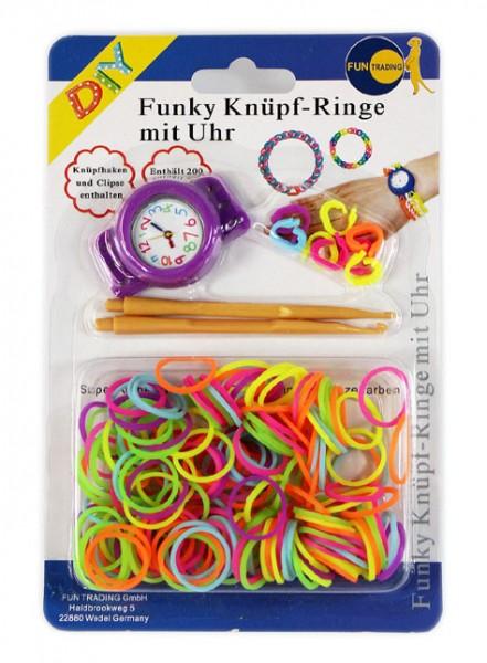 Funky Knüpf Ringe mit Uhr im Set