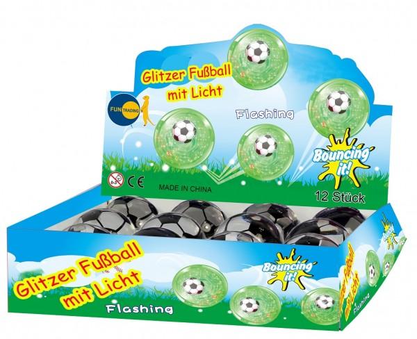 Glitzerball m. leucht. Fußball 65 mm