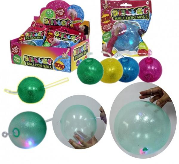 Fun Ballon Ball Glitzer mit Licht