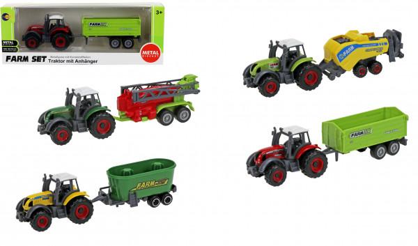 Traktor mit Anhänger - Metallguss