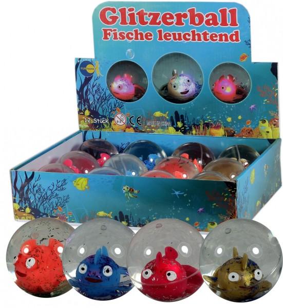 Glitzerball Fische leuchtend 65mm