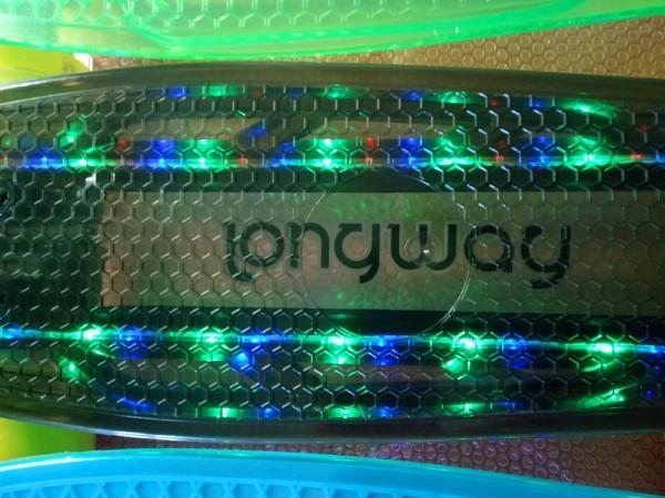 Mini Skateboard transparent schwarz mit LED Licht und Leuchtrollen