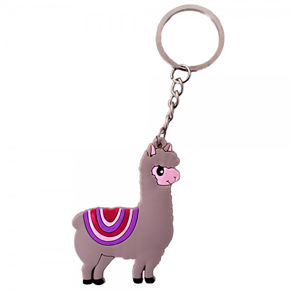 Alpaka Schlüsselanhänger grau/lila